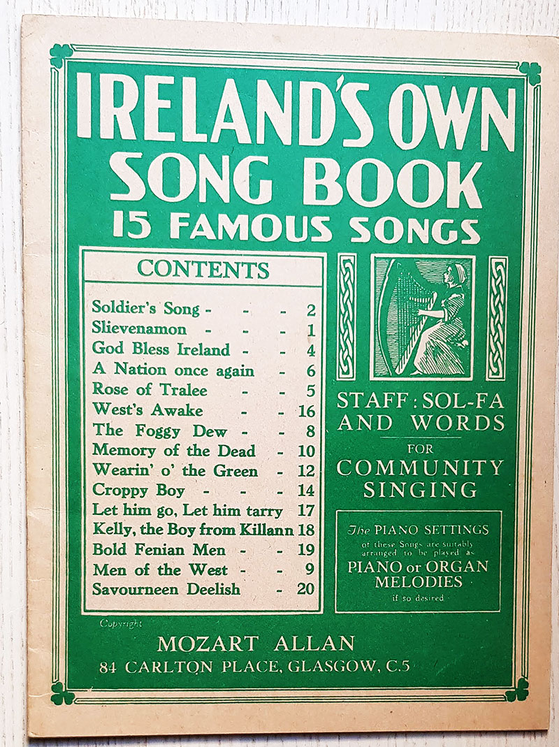 IRELAND'S OWN SONG BOOK. 15 famous songs