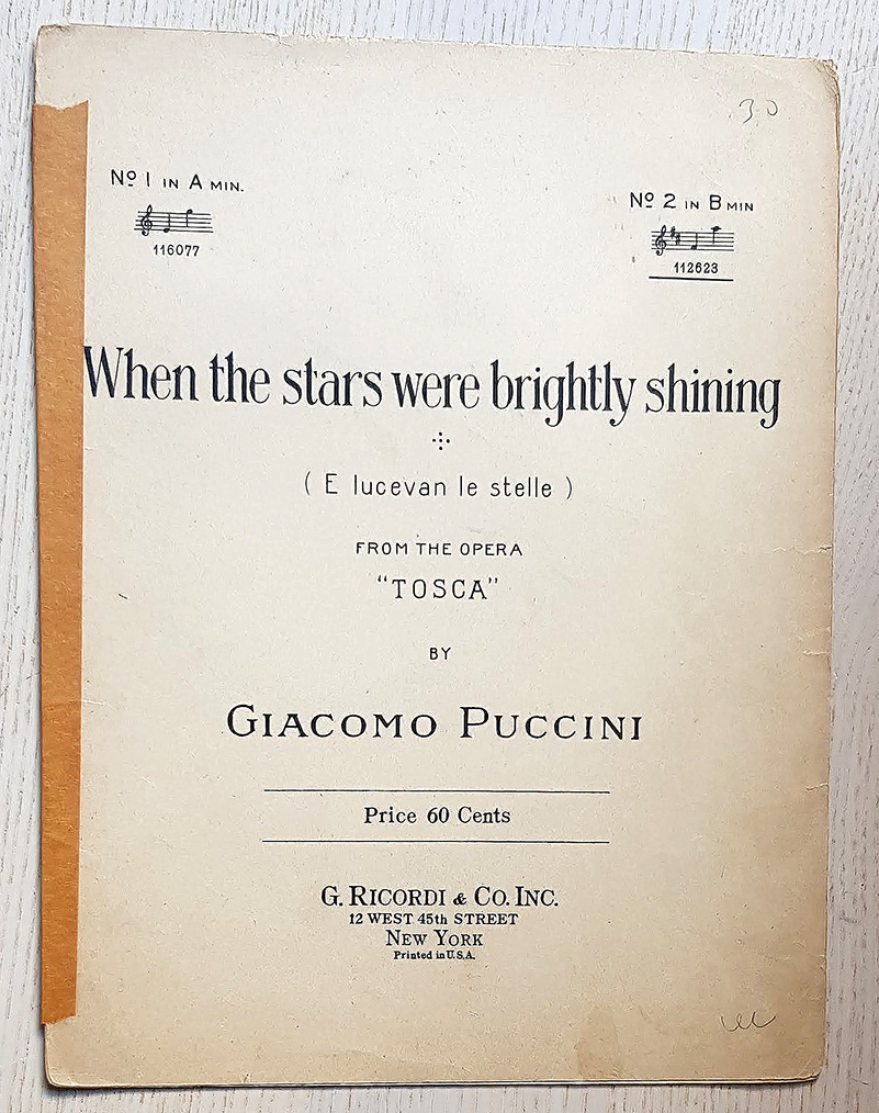 """WHEN THE STARS WERE BRIGHTLY SHINING. From the opera """"Tosca"""""""